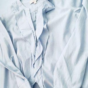 LOFT blue & white ruffled shirt Size M